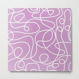 Doodle Line Art | White Lines on Lavender Metal Print
