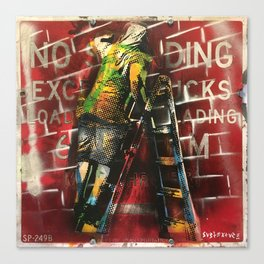 No Standing Ladder Tagger Canvas Print