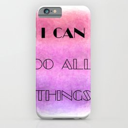 I Can (do all things) [black on shades of pink] iPhone Case