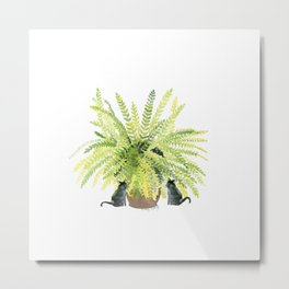 Fern and Two Cats Metal Print