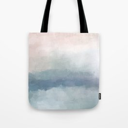 Blush Pink Mint Sky Baby Blue Abstract Ocean Sky Sunrise Wall Art Water Clouds Painting Print Tote Bag