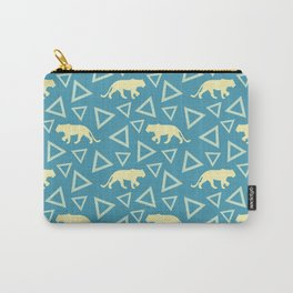 Wild African walking yellow lions and abstract triangle shapes. Stylish whimsical ethnic blue retro vintage geometric animal nature pattern. Carry-All Pouch