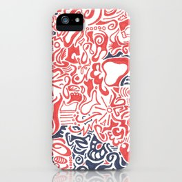 Orange and Blue Line Art iPhone Case
