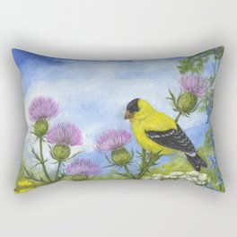 Goldfinches and Thistle Rectangular Pillow