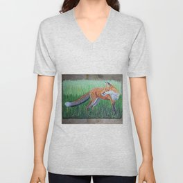 Red Fox on Barn Slate Unisex V-Neck