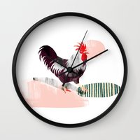rooster Wall Clocks featuring Rooster by Claudia Voglhuber
