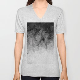 B&W Abstract Facets Unisex V-Neck