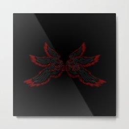 Archangel Lucifer with Wings Black Metal Print