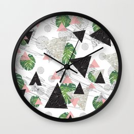 Triangles with leaf Wall Clock
