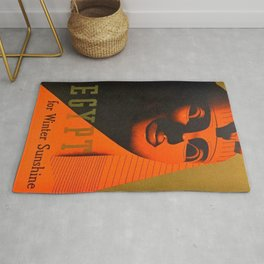 1930's Art Deco Travel Poster - Egypt for Winter Sunshine featuring Great Sphinx of Giza Rug