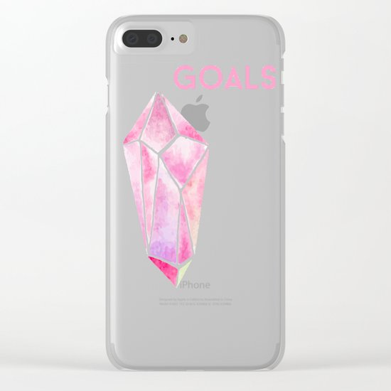 GOALS Watercolor Pink Crystal Minimalist Boss Lady Inspirational Typography Motivational Clear iPhone Case