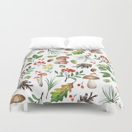 Colorful orange green brown watercolor Autumn pattern Duvet Cover