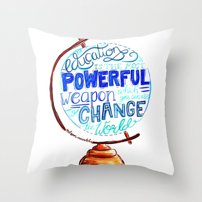 Nelson Mandela Education Quote Hand Lettering Vintage Globe Throw