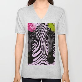 Always together - Two Zebras - illustration - fun - #society6 #buyart Unisex V-Neck