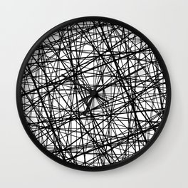 Geometric Collision - Abstract black and white Wall Clock