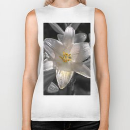 Colourful lily on monochromatic background Biker Tank
