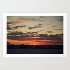 Norfolk Sunset in Snow Art Print