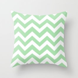 Celadon - green color - Zigzag Chevron Pattern Throw Pillow