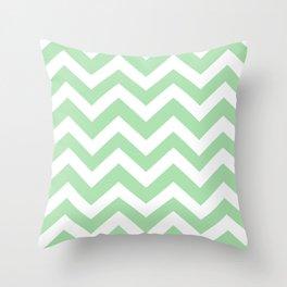 Celadon - green color - Zigzag Chevron Pattern Throw Pillow