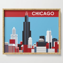 Chicago, Illinois - Skyline Illustration by Loose Petals Serving Tray