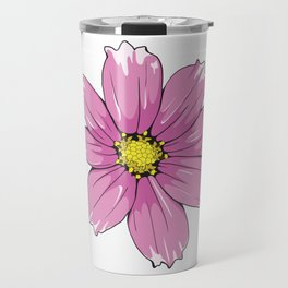 Pink Garden Cosmos Flower Travel Mug