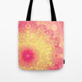 Mandala in Rose and Lemon Tote Bag