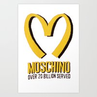 moschino Art Prints featuring MOSCHINO  by Claudio Velázquez