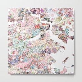 Boston map flowers Metal Print