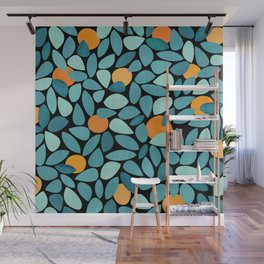 Orange Grove Woodblock Abstract Print Wall Mural