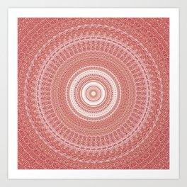 Pastel Peach White Boho Chic Mandala Art Print