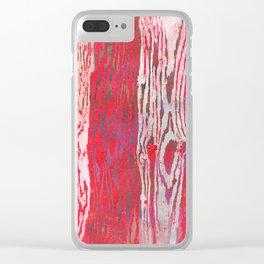 Modern Faux Bois Woodgrain Pattern Art Print - Bright Folk Red Clear iPhone Case