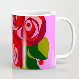 A Bouquet of Big Flowers with Pink Background Coffee Mug