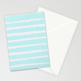 Irregular Hand Painted Stripes Mint Stationery Cards