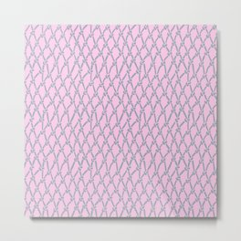 Fishing Net Grey on Blush Metal Print
