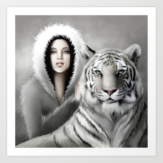 Tigre Blanc Art Print
