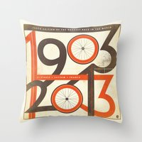 tour de france Throw Pillows featuring 100 Years of The Tour de France by Dushan Milic