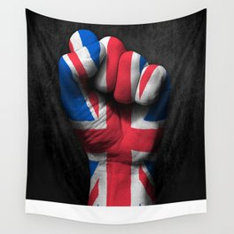 Union Jack Flag of The United Kingdom on a Raised Clenched Fist Wall Tapestry