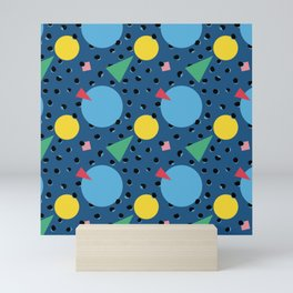 Leopard Geo Mix Pattern Multi Color - Blue Mini Art Print