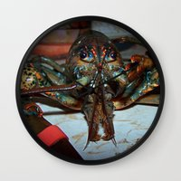 lobster Wall Clocks featuring Lobster by DanByTheSea