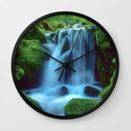 Waterfall in the forest Wall Clock