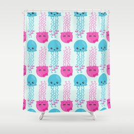 Pattern Of Jellyfishes, Sea Life - Pink Blue Shower Curtain