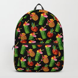 Tiki Cocktail Pattern - Black Backpack