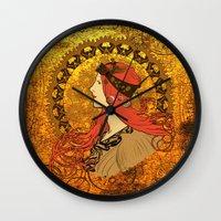 nouveau Wall Clocks featuring Steampunk Nouveau by Nana Leonti