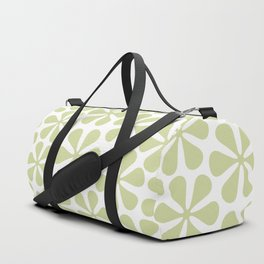 Abstract Flowers Lime Color on White Duffle Bag