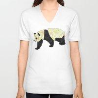 panda V-neck T-shirts featuring Panda by Ben Geiger