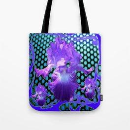 PURPLE ART NOUVEAU PURPLE IRIS ABSTRACT BLUE ART Tote Bag