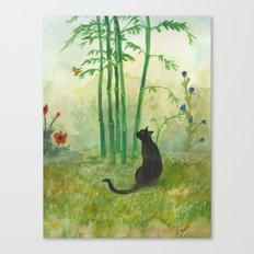 Black Cat in the Bamboo Canvas Print