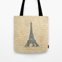 eiffel tower Tote Bags featuring Eiffel Tower by Zen and Chic