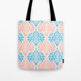 Pastel blue pink vintage floral damask pattern Tote Bag