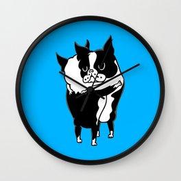 Boston Terrier Hugs Wall Clock